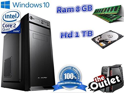 Pc computer desktop fisso assemblato quad core ram 8gb hd 1tb wifi windows 10