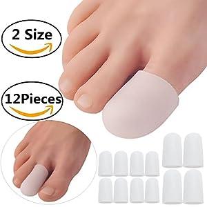 Gel Zehenkappe, verhindern Hornhaut und Druckstellen, Silikon Zehenspreizer für Damen und Herren 12verschiedenen Größen (2-weiß Fuß Gap)
