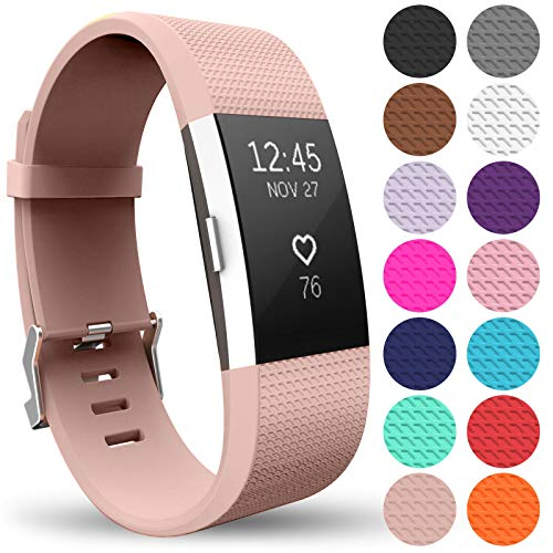 Yousave Accessories® Armband für Fitbit Charge 2, Ersatz Fitness Armband und Uhrenarmband, Silikon Sportarmband und Fitnessband, Wristband Armbänder für Fitbit Charge2 - Groß, Rose Gold