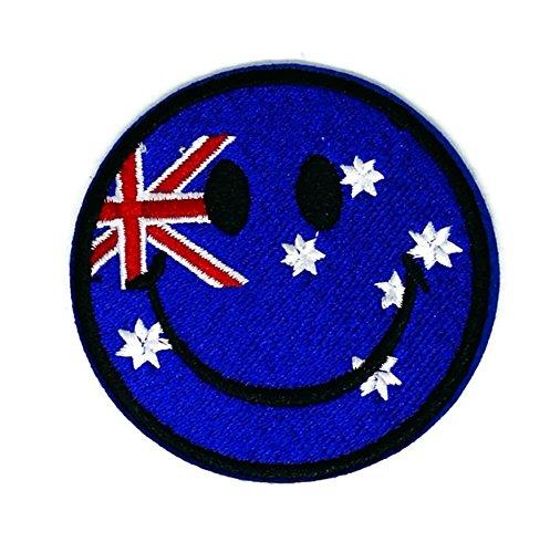 Australien Smiley Flagge bestickt Nähen Eisen auf Patch Cartoon Nähen Eisen auf bestickte Applikation Craft handgefertigt Baby Kid Girl Frauen Tücher DIY Kostüm Zubehör (Zubehör Kostüm Australien)