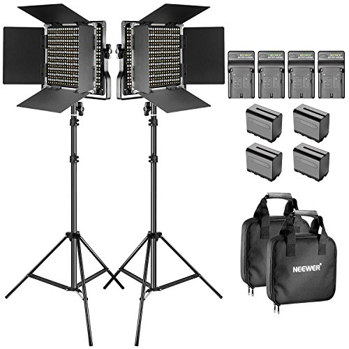 Neewer Luce Video Bi-colore LED e Kit di Supporto con Batteria e Caricabatterie-Dimmable 660 LED con Staffa U e Barndoor(3200-5600K, CRI 96+), piedi 3-6,5 piedi per Studio, Riprese YouTube(2 Pack)