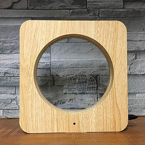 3D Nachtsicht Serie Holz Korn Foto Frame kleiner Elefant LED bunte Touch Heimlicht Schlafzimmer Lampe