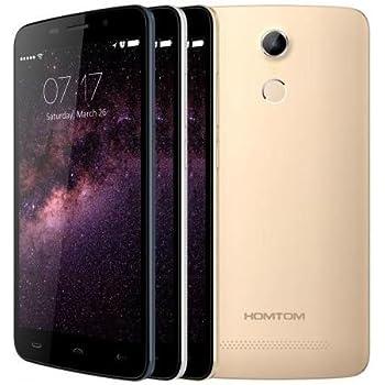 HOMTOM HT17 Smartphone Android 6.0, 4G, 1GB RAM, 8GB ROM, 5.5 Pollici, HD, Riconoscimento Impronte Digitali a 64 bit, MTK6737 Quad Core, 7.9 mm di Spessore, Oro