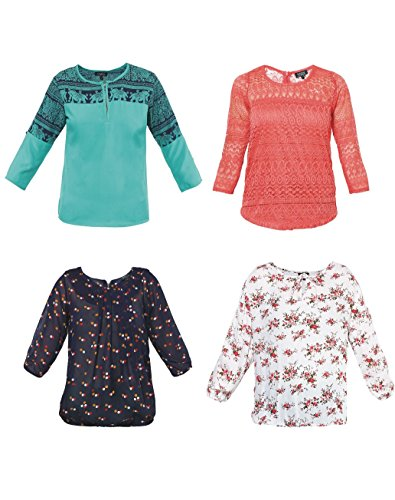 Mayra Women's Pack of Four Partywear Tops (NC05PACK04_L ,Peach,Green,white,Navy Blue...