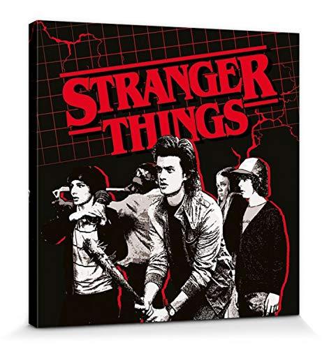 1art1 120116 Stranger Things - Action Ready Poster Leinwandbild Auf Keilrahmen 40 x 40 cm (Tv-netflix-ready)