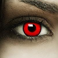Farbige rote Kontaktlinsen Volturi + Kunstblut Kapseln + Behälter von FXCONTACTS, weich, ohne Stärke als 2er Pack - perfekt zu Halloween, Karneval, Fasching oder Fasnacht
