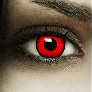"""Farbige rote Kontaktlinsen """"Volturi"""" + Kunstblut Kapseln + Behälter von FXCONTACTS, weich, ohne Stärke als 2er Pack – perfekt zu Halloween, Karneval, Fasching oder Fasnacht"""