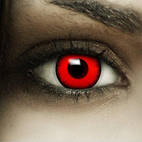 """Farbige rote Kontaktlinsen """"Volturi"""" + Kunstblut Kapseln + Behälter von FXCONTACTS, weich, ohne Stärke als 2er Pack - perfekt zu Halloween, Karneval, Fasching oder Fasnacht"""