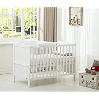 "Mcc® Wooden Baby Cot Bed ""Orlando"" With Top Changer & Water repellent Mattress (Orlando TC White)"