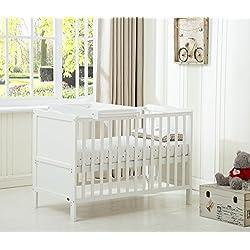 MCC Orlando Cama cuna / cuna madera blanco para bebés y niños con bebé unidad de cambio y colchón