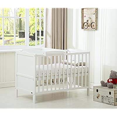 "Mcc® Wooden Baby Cot Bed ""Orlando"" With Top Changer & Water repellent Mattress (Orlando TC White)  HWF Shop"