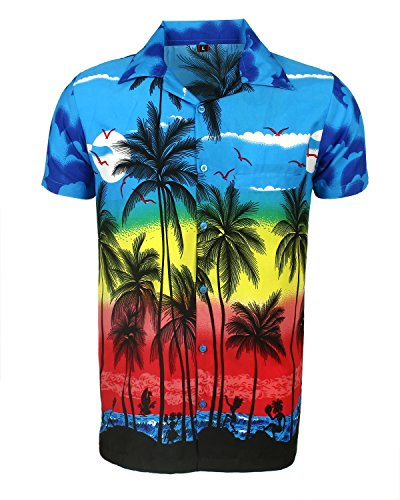 Saitark - camicia hawaiana da uomo, motivo estivo con di palme - large - blu