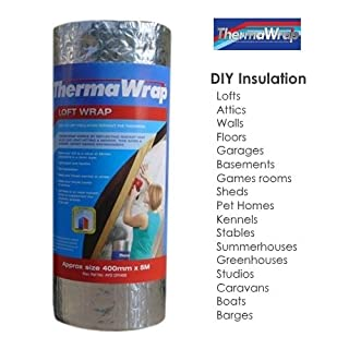 Thermawrap 400mm x 5m x 3.7mm Loft Wrap Easy Install Bubble Foil Insulation Ideal for Attics, Sheds, Caravans, Boats, Greenhouses, Pet Homes and Garages- High Quality Aluminium Foil Reflective Layers for Maximum Heat Retention and Energy Saving