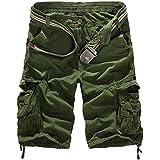 Homme Eté Cargo Shorts de Loisir Capri Mi-longues pantalon court (SANS CEINTURE)