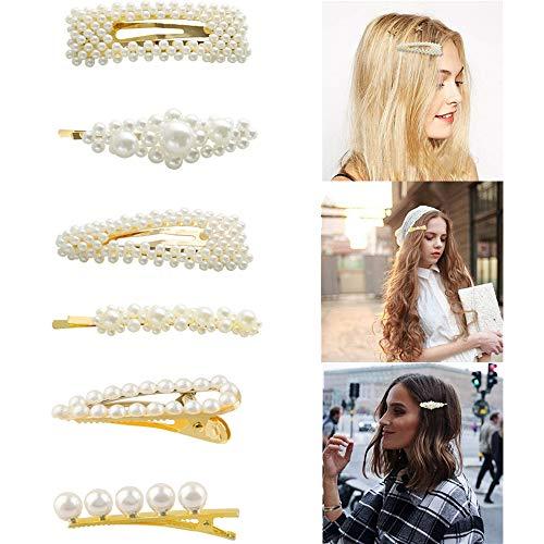 6 Stück Haarspangen Mädchen, Haarnadeln perlen für Mädchen, Haarclips Mädchen Haar Snap Clips Faux Perle Haarnadeln Barrettes Stick Snap Haarspangen für Geschenke