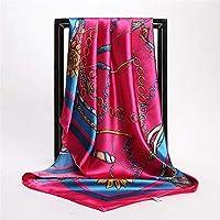 CCTYUWJ Quadratischer Schal/Hijab Kopftuch Frauen Mode Kette Drucken Große Quadratische Schals Silky-Satin Seidenschal 90 cm * 90 cm