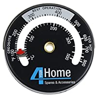 4YourHome Magnetic Fire Stove Flue Thermometer, Black