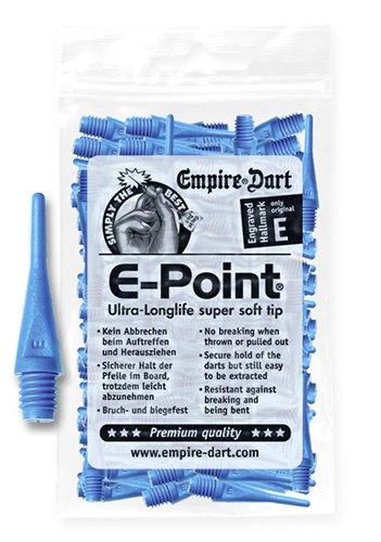 Empire Dart Softdartspitzen, E-Point, 2BA, kurz, blau, 100 Stück Dart-kurz
