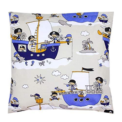 TupTam Kissenhülle Dekorativ Gemustert Dekokissen Baumwolle, Farbe: Piratenschiff / Blau, Größe: 40 x 60 cm