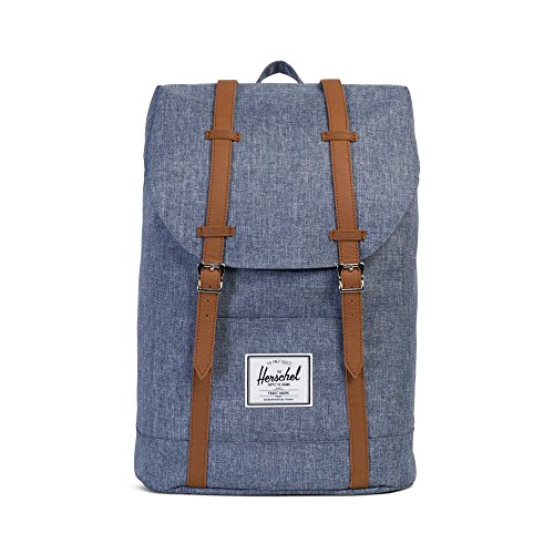 Herschel Supply Co. City Mid-Volume - Zaino, Dark Chambray Crosshatch/Tan Synthetic Leather (Blu) - 10066-01570-OS