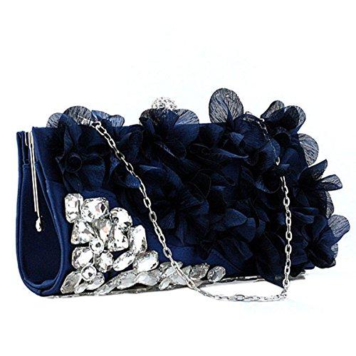 Frauenblumenabendessenbeutel Abendbeutel Nette Handtasche Black
