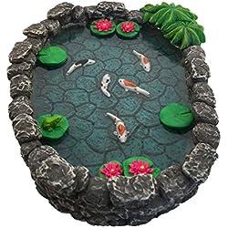 Estanque KOI en Miniatura – Estanque KOI para Jardín de Hadas. Estanque en Miniatura para Jardín de Hadas en Miniatura, Accesorios y Complementos para Jardín Encantado de GlitZGlam