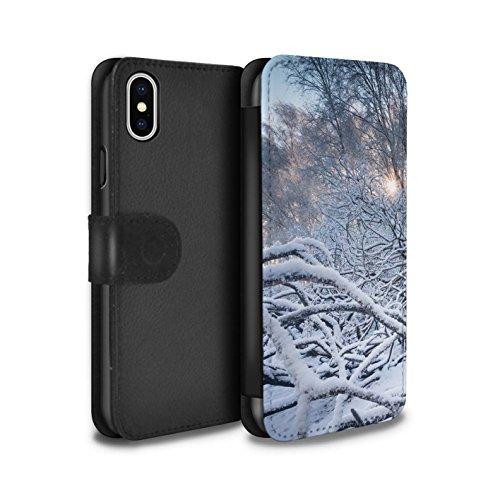 Stuff4 Coque/Etui/Housse Cuir PU Case/Cover pour Apple iPhone X/10 / Ciel Gris Design / Hiver Saison Collection Branches/Brindilles