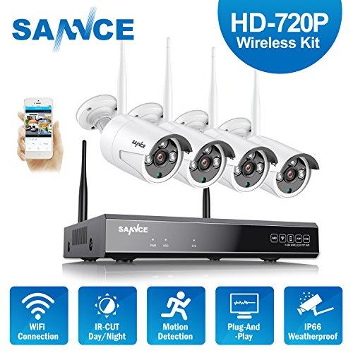 Sannce kit videosorveglianza wifi nvr 1080p 4 canali 4 wireless camera ip 720p sistema di videosorveglianza senza fili h.264 cctv avviso e-mail dual stream kit sorveglianza senza hdd