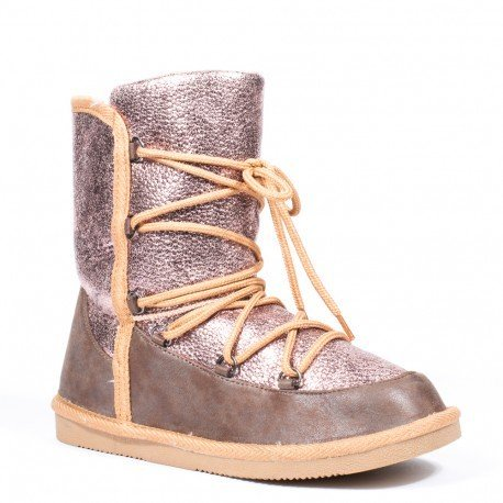 Ideal Shoes - Bottines fourrées bi-matière Veline Champagne