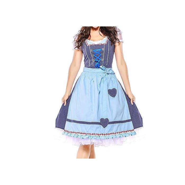Hirolan 4PC Frauen Bayerisches Oktoberfest Bandage Elegant Pulloverkleid Strickkleid Tunika Kleid V-Ausschnitt Langarm…