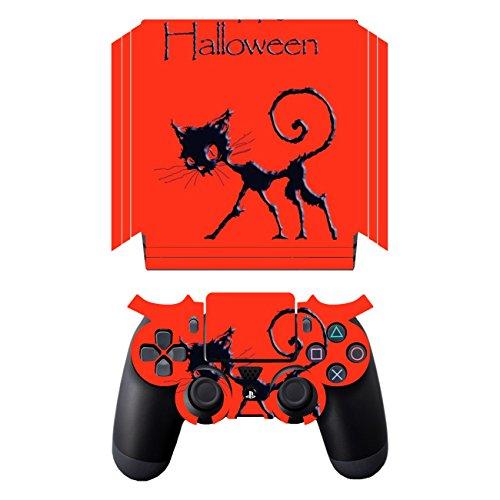 28 Design Folie für Sony PS 4 Pro mit Controller - Motiv Happy Halloween transparent ()