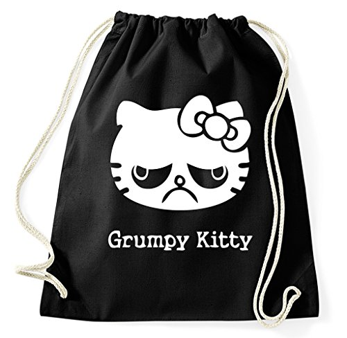 Grumpy Kitty Cat Turnbeutel Sportbeutel Jutebeutel Rucksack Spruch -