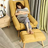 WOF Single kleines Sofa Recliner- Faule Couch Stuhl Stillen Gelegenheits Schlafzimmer Mittagspause Klappstuhl Nordic Sofa, Stuhl, Balkon (Gelb) (Color : Yellow)