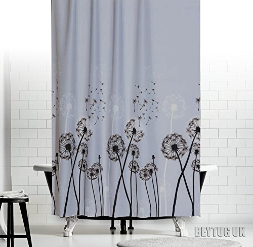 Pissenlit Rideau de douche en tissu, Large ou étroit Disponible en 5tailles différentes sur mesure, Light Grey Background with Dandelions, 240 x 200CM