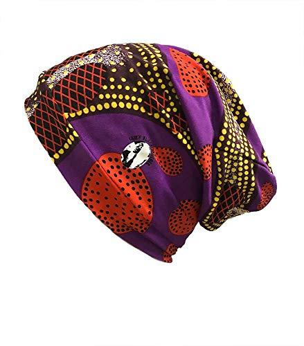 Fairy Black Mother Nachtmütze, Beanie, bequem, elastisch - African Purple Print - M -