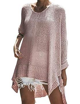 ZORE Invierno de la Mujer Bohemio cálido O Cuello Manga Larga Suelta en Forma de suéter de Punto Jersey Tops Women...