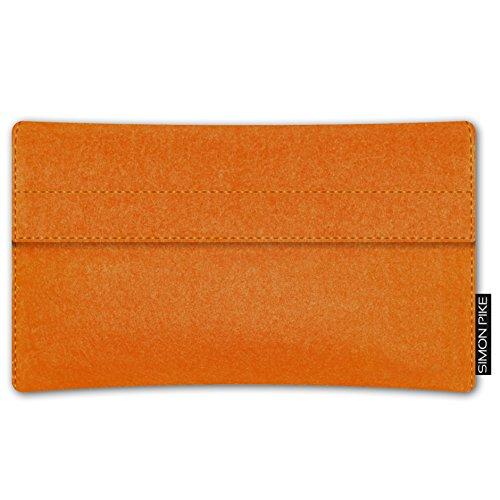 SIMON PIKE Apple iPhone 7 / 6 / 6S Filztasche Case Hülle 'NewYork' in gruen 7, passgenau maßgefertigte Filz Schutzhülle aus echtem Natur Wollfilz, dünne Tasche im schlanken Slim Fit Design für das iPh orange Filz (Muster 2)