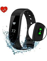 VPRAWLS Fitness-Tracker, Smartwatch, Herzfrequenzsensor, Kalorienzähler, Schrittzähler, wasserdichter Touchscreen, Armband-Tracker für Sport, kompatibel mit iOS- und Android-Handys