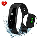 Fitness Tracker Watch, VPRAWLS Smart Watch with Heart Rate Monitor Calorie Counter Pedometer, Waterproof Touch Screen Wristband Sport Activity Tracker Pedometer for IOS Android Phone (Black)