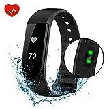 Vprawls, Fitness-Tracker, Smart-Watch mit Herzfrequenz-Monitor, Kalorienzähler, Schrittzähler, wasserdichtem Touchscreen, Armband-Tracker für Sport, kompatibel mit iOS- und Android-Handys., schwarz