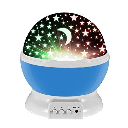 Ifecco Lampada Stelle Bambini, 360 Gradi Rotazione Proiettore Lampada con 8 Modalità Romantica Luce Notturna, Regalo per Neonati, Bambini, Adulti, Compleanno, Regali di Natale- Blu