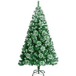 SAILUN 150cm Árbol De Navidad Artificial DelÁrbol De Navidad Con El Soporte De Metal, Minutos Montaje RÁPido Con Sistema De Plegado (150cm, agujas de pino verde con efecto de nieve)