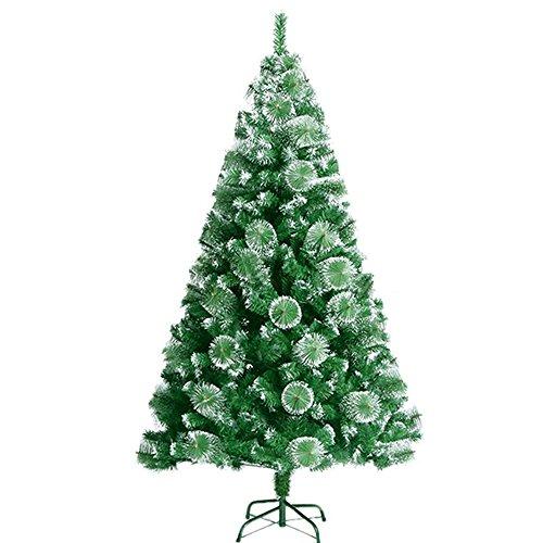 SAILUN 210 cm albero di Natale artificiale albero di Natale con supporto in metallo, a pochi minuti di montaggio rapido con sistema di piegatura (210cm, aghi di pino verde con effetto neve)