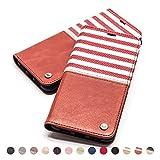 QIOTTI Hülle Kompatibel mit iPhone 8 Plus I iPhone 7 Plus Ledertasche aus Hochwertigem Leder RFID NFC Schutz mit Kartenfach Standfunktion in Rot