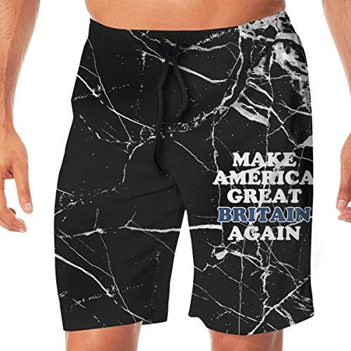 Machen Sie Amerika Wieder Großbritannien Herren Badehose Boardshorts Home Shorts, Beachwear Sports Running Shorts mit Taschen Größe XXL