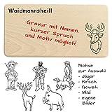 Weidmannsheil Brettchen - Jäger Geschenke Personalisiert mit Name Oder individueller Gravur - als Frühstücksbrett, Brotzeitbrett, Geburtstagsgeschenk.