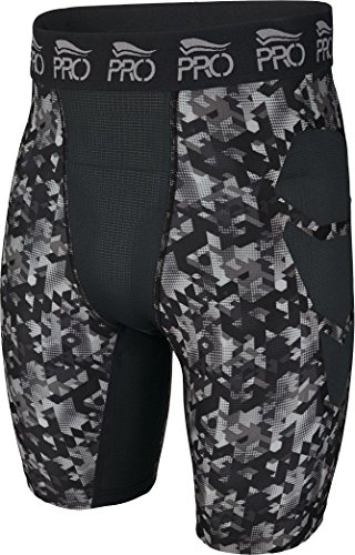 CRIVIT®PRO Herren Funktionshose / Laufhose / Sporthose kurz (Gr. L 52/54, schwarz grau gemustert)