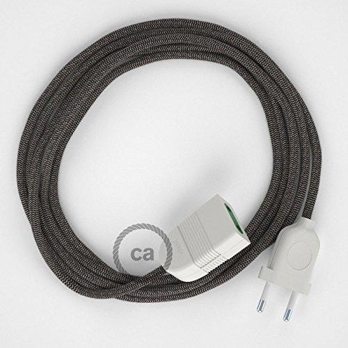 rallonge-electrique-avec-cable-textile-rd74-coton-et-lin-naturel-zigzag-anthracite-2p-10a-made-in-it