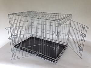 """XL 42"""" silver coated strong dog cage by Doghealth ck42"""