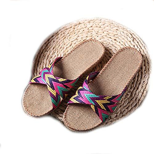 EULAGPRE Zapatillas de Lino Zapatos de Piso Zapatillas de Cinturón Cruzado Silent Sweat...